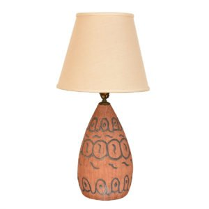Pottery Earthen 'Chiseled Pattern' Table / Accent Lamp