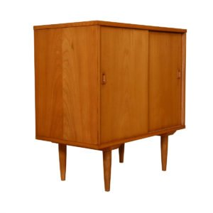 Compact Mid Century Sliding Door Media Cabinet / Bar