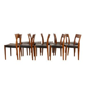 Set of 10 Scandinavian Modern Walnut Dining Chairs