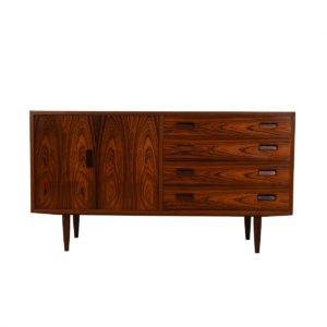 Danish Rosewood 4 Drawer Media Cabinet w/ Bi-Fold Door