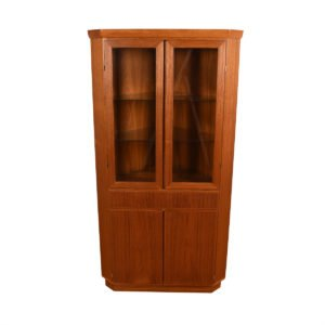 Danish Teak Lighted CORNER Display / Storage Cabinet