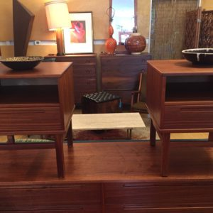 Pair of Danish Modern Walnut Nightstands / Side Tables by Torring