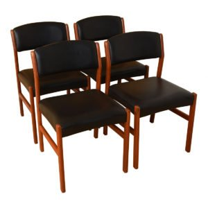 Set of 4 Danish Modern Black + Teak Dining Chairs