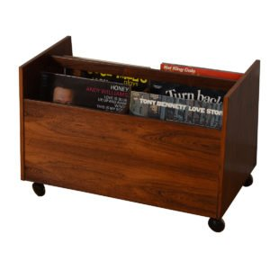 Danish Rosewood Vinyl + Magazine Cart