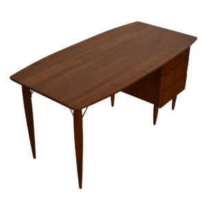 Mid Century Modern Walnut Bowed-Top Desk