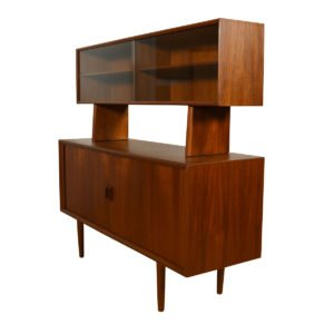 Compact Danish Teak Tambour Sideboard / Room Divider w/ Glass Display Top