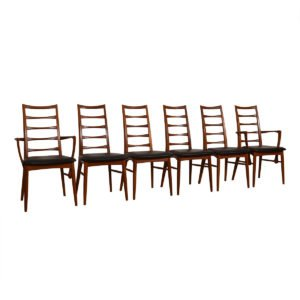 Set of 6 (2 Arm + 4 Side) Koefoed Hornslet Danish Teak Dining Chairs