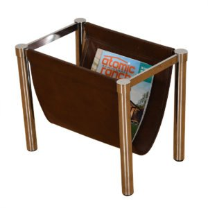 Mid Century Modern Chrome & Leather Magazine Rack