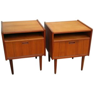 Pair of Danish Modern Teak Nightstands / Side Tables