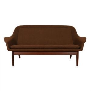 Arne Vodder Upholstered Brown Sofa w/ Teak Legs
