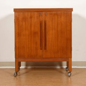Locking Danish Modern Teak Expanding Bar / Storage Cart