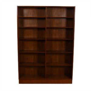 Walnut Danish Modern Tall + Wide Full Bookcase