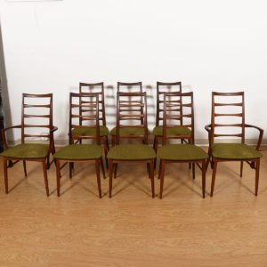 Set of 8 (2 Arm + 6 Side) Koefoed Hornslet Danish Teak Dining Chairs