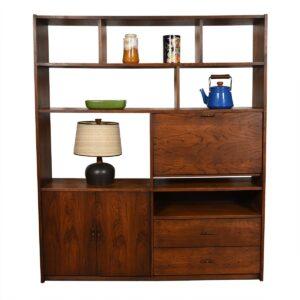 Mid Century Walnut Room Divider / Wall Unit / Bookcase