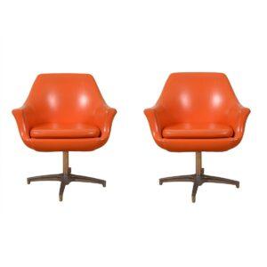Pair of Mid Century MOD Orange Pod Chairs