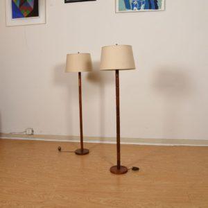 Pair of Teak Floor Lamps with Stacked Nodule Design