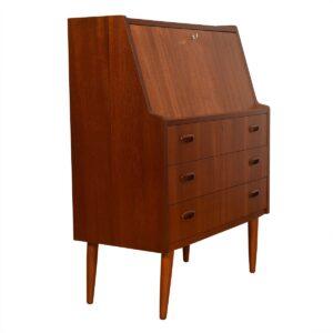 Splayed Leg Danish Modern Teak Petite Desk / Secretary