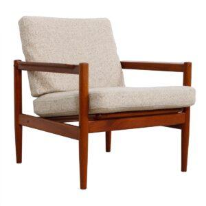 Danish Teak Easy Chair – Pair Available – Pair Ottomans Also Available!
