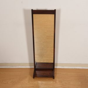 Slim & Long Danish Modern Mirror in Rosewood with Shelf