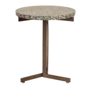 Mid Century Modern Stone + Chrome Tall Accent Table