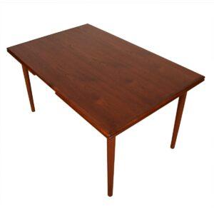 Compact Danish Modern Teak Expanding Dining Table