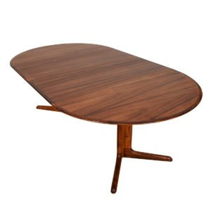 Danish Rosewood Expanding Round Pedestal Dining Table