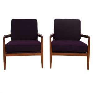 Pair of Edmond Spence Mid Century Modern Walnut Club Chairs