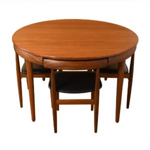 Mid Century Walnut Butterfly Leaf Expanding Round Dining Table + Chair Set