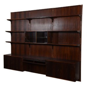 3-Column Danish Modern Rosewood Adjustable Wall Unit w/ Paneling.