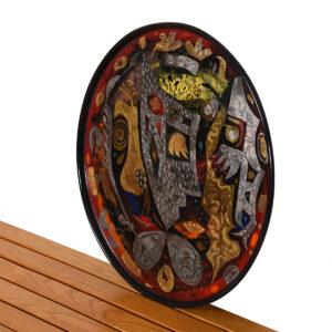 Large Enamel Platter with Maori-style Design by Bernard Hesling