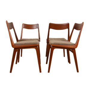 Set of 4 Danish Boomerang Dining Chairs by Erik Christensen.