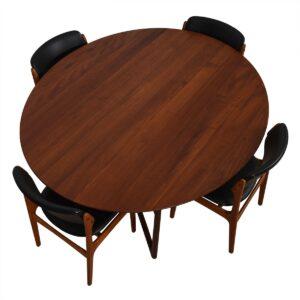 Danish Modern Teak Oval Drop-Leaf Dining Table