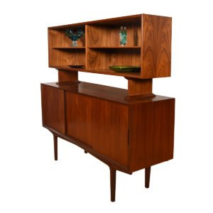 Danish Modern Teak 2 Pc. Sliding Door Storage Credenza.