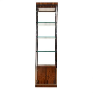 Mid Century Modern Rosewood + Chrome Display Cabinet