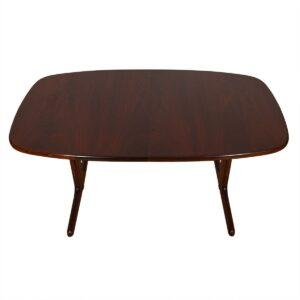 Danish Rosewood Expanding Pedestal Dining Table