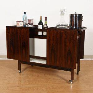Danish Rosewood Expanding Rolling Bar / Storage Cabinet
