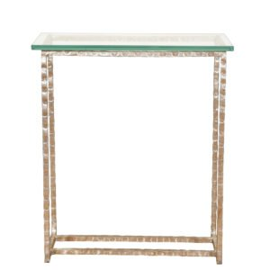 Modern Hammered Metal + Glass Top Petite Accent Table