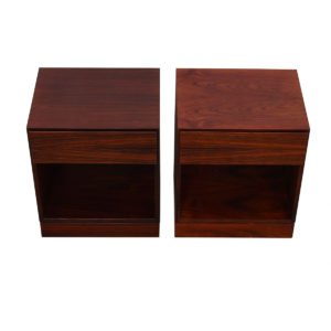 Pair of Danish Modern Rosewood Nightstands / Side Tables
