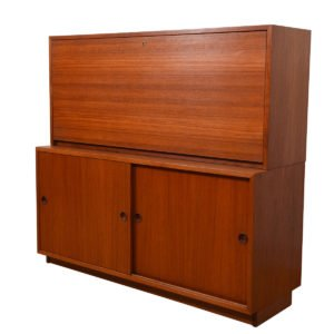 2-Piece Danish Teak Secretary / Locking Cabinet