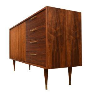 Tambour Door Walnut Credenza / Dresser 33″ Tall