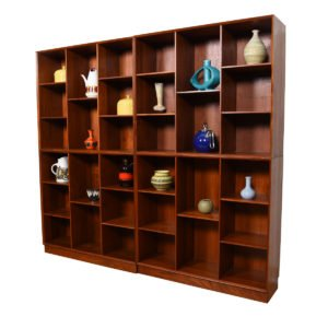 RARE Solid Teak Danish Bookcases by Peter Hvidt – Multiple Configurations
