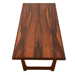 Danish Modern Rosewood Sleigh-Leg Coffee Table.
