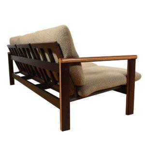 Danish Modern 2-Tone Designer Wenge Wood 3-Seater Sofa