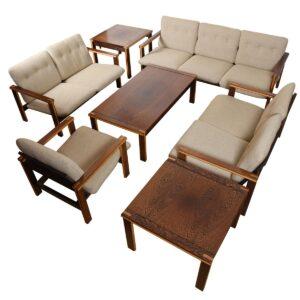 Danish Modern 2-Tone Designer Wenge Wood Settee
