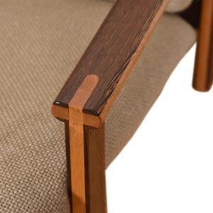 Danish Modern 2-Tone Designer Wenge Wood Lounge Chair