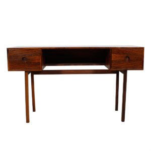 Petite Danish Modern Rosewood Split Drawer Desk.