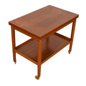 'Slide & Flip' Expanding Danish Modern Teak Bar Cart / Serving Table
