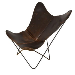 Vintage Ferrari-Hardoy for Knoll Leather Butterfly Chair