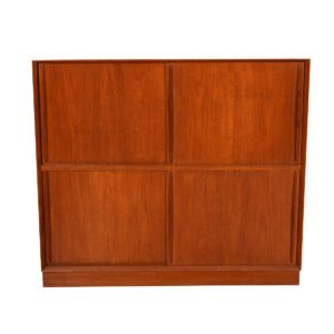 Peter Hvidt Solid-Teak Danish Sliding Door 2-Tier Storage Cabinet.