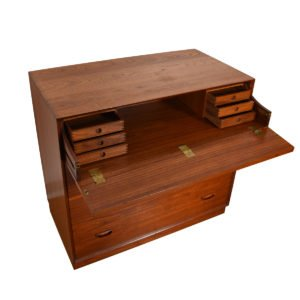 Peter Hvidt Solid-Teak Danish Drop-Down Storage / Sit-Down Secretary Cabinet.